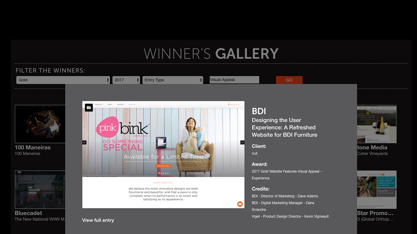 Bdis new website wins gold in national competition bdi furniture