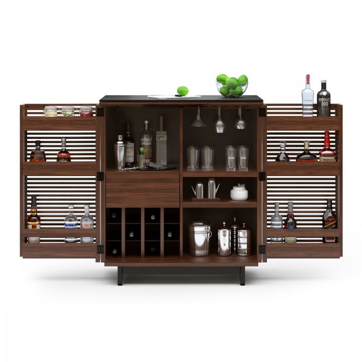 Delicieux ... The Sleek Contemporary Corridor Bar By BDI Versatile Design In  Chocolate Walnut Stain Open Louvered Doors ...