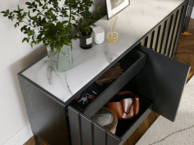 Whether used as an attractive dining room sideboard or as a convenient hallway console, Cosmo is designed to meet your storage needs.