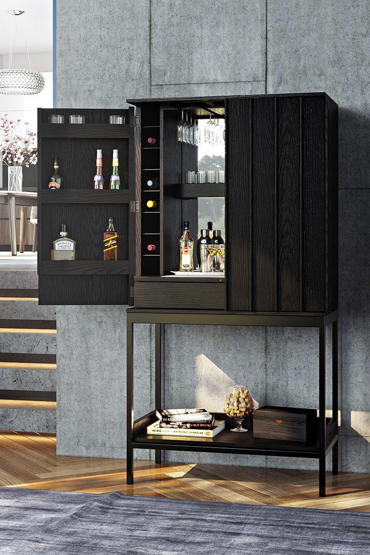 BDI Cosmo 5720 home bar cabinet in black finish.