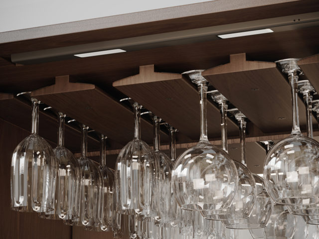 BDI Cosmo 5720 home bar racking space for wine glasses and rechargeable LED light.