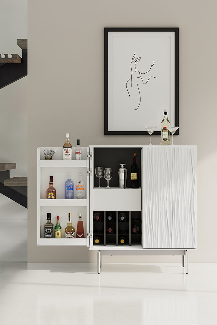 White Tanami home bar by BDI furniture, shown with one door open to display generous bottle and bar storage.