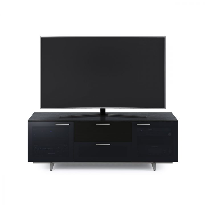 ... The Avion Noir Tv Cabinet In Black Stained Oak Finish By BDI With Grey  Tinted Doors ...