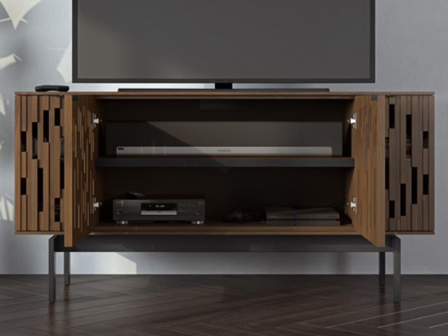 A perfectly positioned soundbar shelf integrates a full size soundbar or center channel speaker — along with full sound dispersion — into the overall design.
