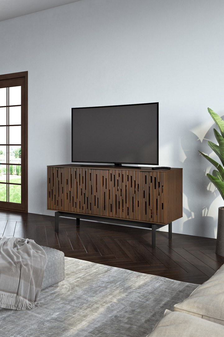 An attractive storage credenza, Code can also be used as a TV cabinet thanks to remote-friendly doors and adjustable shelves that can accommodate a compact media system and gaming consoles.