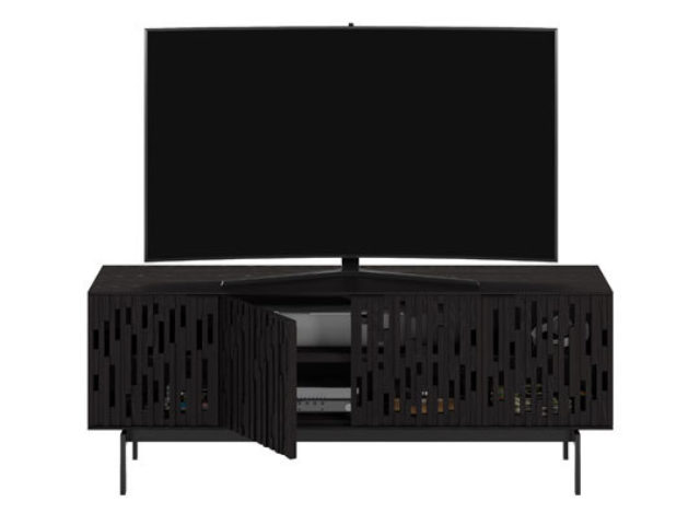 An attractive storage credenza, Code can also be used as a versatile TV cabinet thanks to remote-friendly doors, cable management and adjustable shelves that can accommodate most AV components.