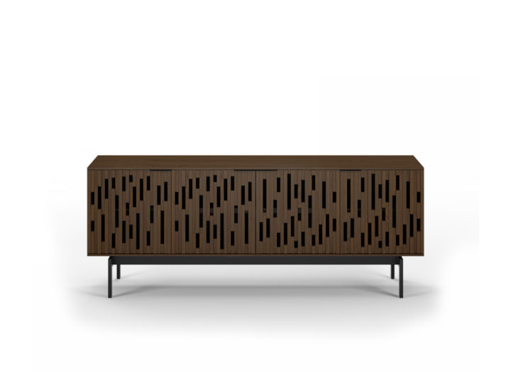 The Code 7379 media credenza in toasted walnut finish from BDI featuring handcrafted wooden doors and adjustable shelves.