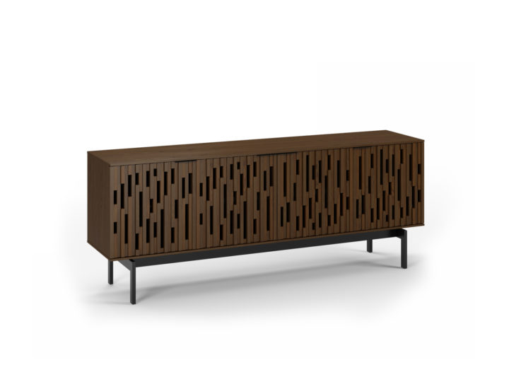 The Code 7379 storage credenza from BDI furniture featuring handcrafted hardwood doors and adjustable shelving in toasted walnut