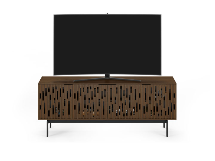 The Code 7379 modern home theater console from BDI with soundbar speaker shelf, handcrafted hardwood doors and cable management system in toasted walnut.