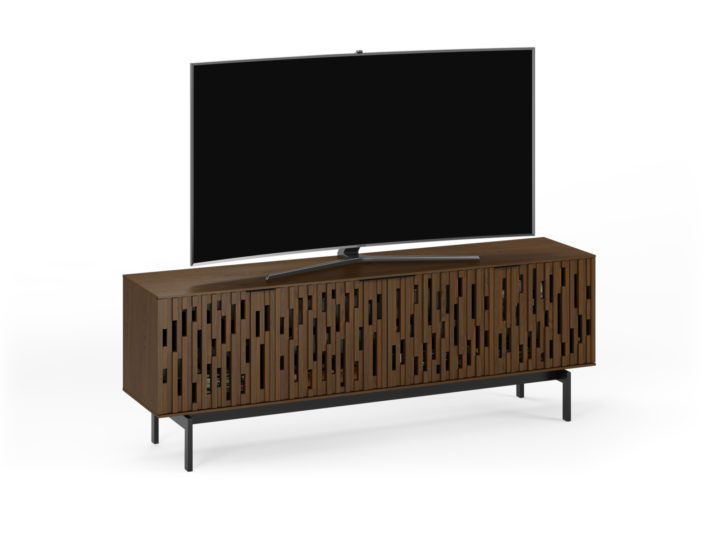 The Code 7379 entertainment center in toasted walnut from BDI with elegant handcrafted hardwood doors and ample media storage compartments.