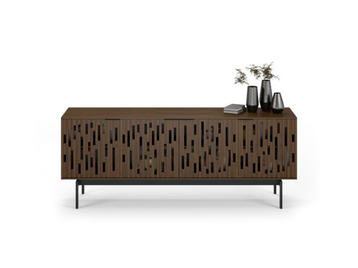 The Code 7379 media console from BDI in toasted walnut with elegant handcrafted hardwood doors, adjustable soundbar speaker shelf and wire management system.,