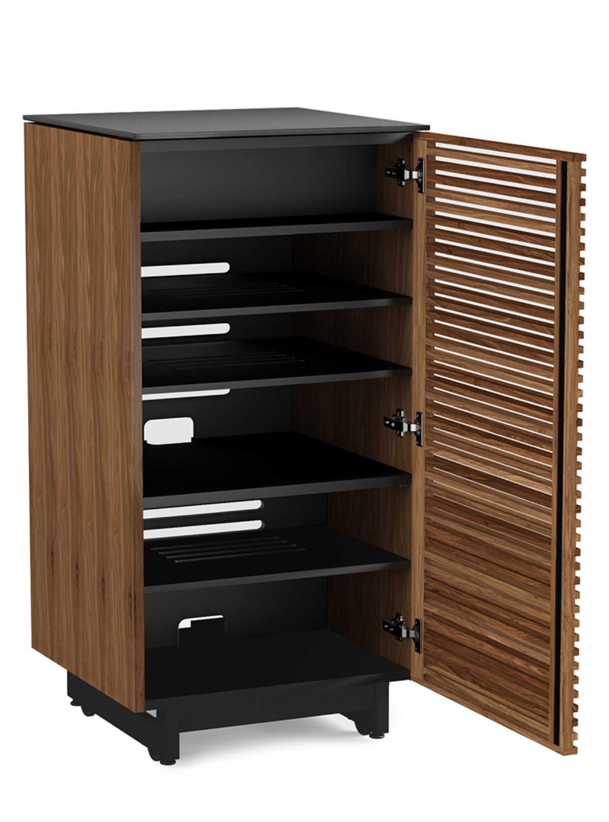The Corridor modern audio and stereo tower in natural walnut with built in ventilation.