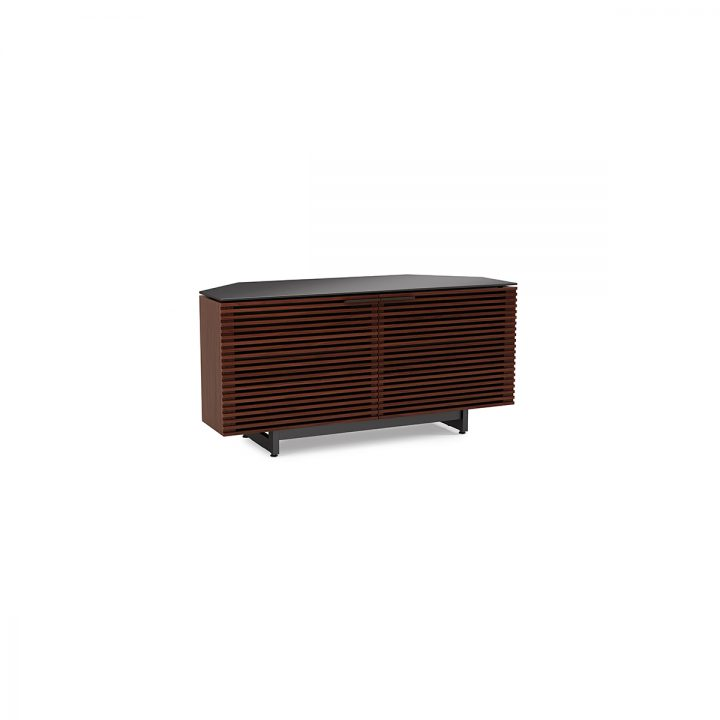 The BDI Contemporary Corridor Corner Media Cabinet In Chocolate Walnut  Modern Tv Stand With Tapered Rear ...