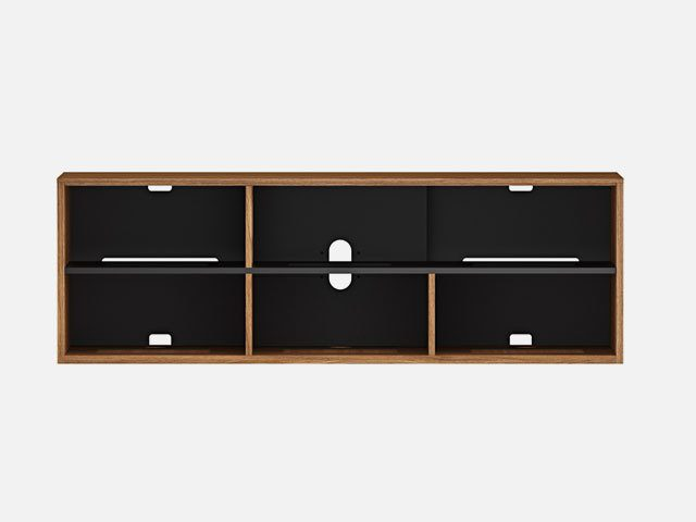 A perfectly positioned soundbar platform is designed into the Elements 8777 media console by BDI and integrates a soundbar speaker—and full audio dispersion—into the overall design.