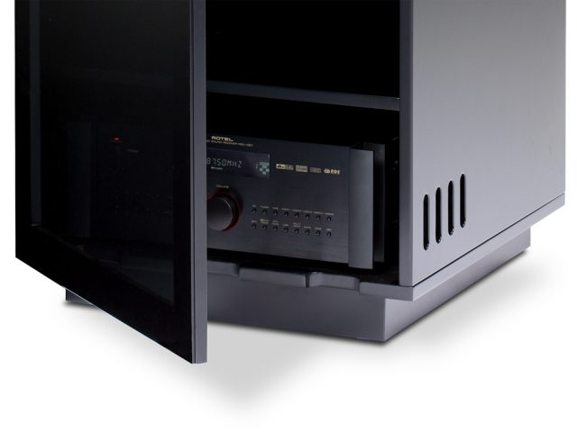 The Mirage Home Theater Cabinet by BDI in Gloss Black finish with adjustable shelves
