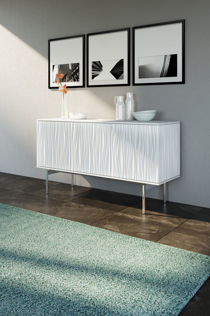 The BDI Tanami triple credenza makes a statement in both function and design. Choose from two beautifully striking finishes, Satin White or Fog Grey.