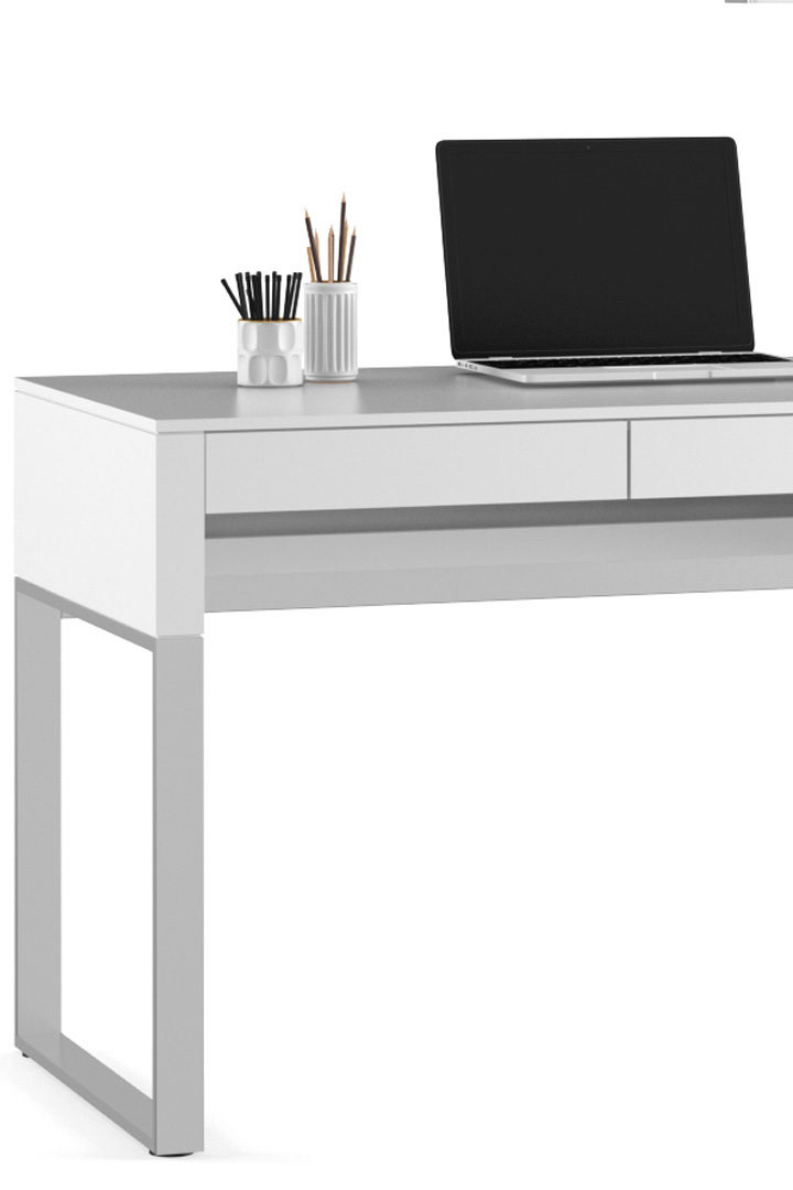 The Cascadia 6201 compact office desk by BDI furniture in a modern white finish.