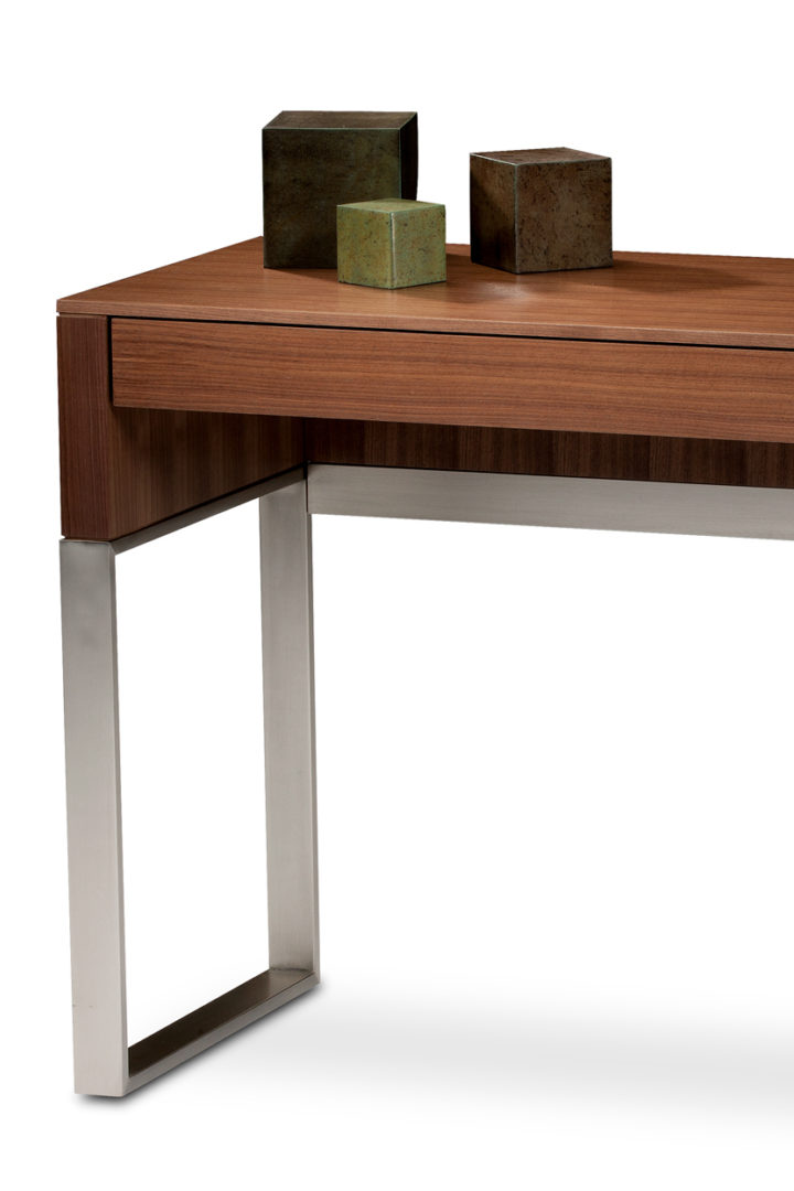 The Cascadia Laptop Desk by BDI - shown in Natural Walnut finish - is a versatile modern desk or console that features a full-length storage drawer.