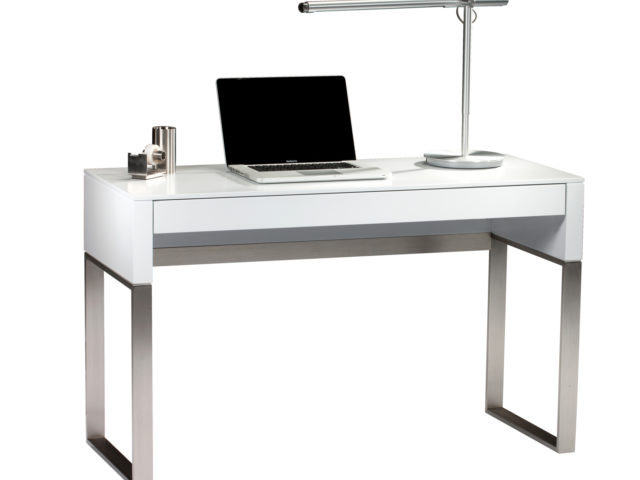 The Cascadia 6202 laptop desk and console, shown in Satin White finish.