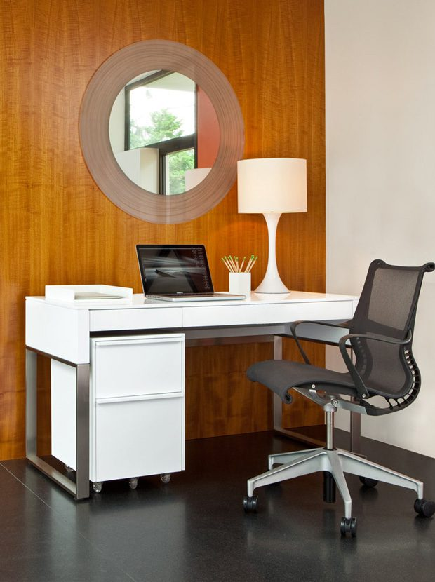 The BDI Cascadia Office in White with Console Laptop Desk and Mobile File Pedestal