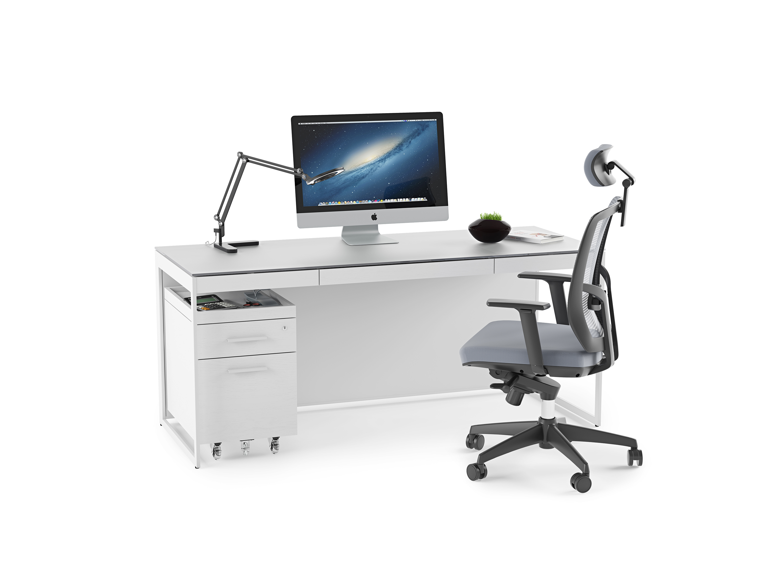 Picture of: Centro 6401 Modern White Home Office Desk Bdi Furniture