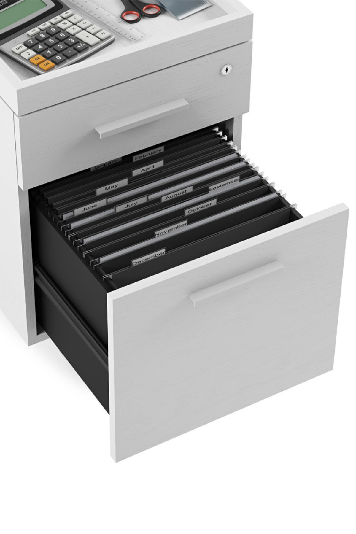 The Centro Mobile File Pedestal by BDI in White with two storage drawers