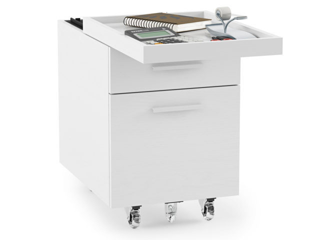 The Centro Office Mobile Filing Cabinet with sliding drawer in white by BDI Furniture