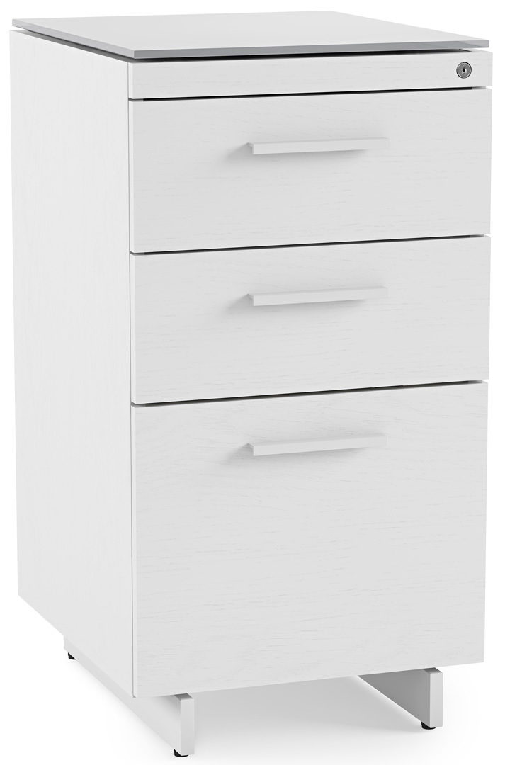 The Centro 3 Drawer Mobile File Pedestal in White with glass top