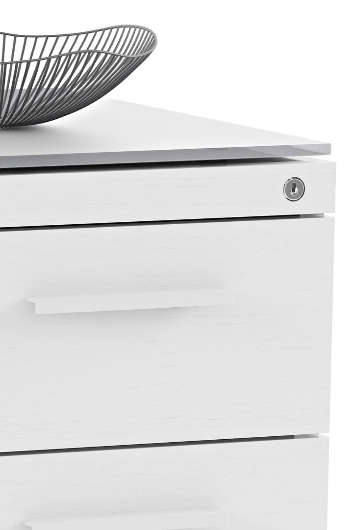 The Centro Multifunction Storage Cabinet by BDI in white with locking drawer