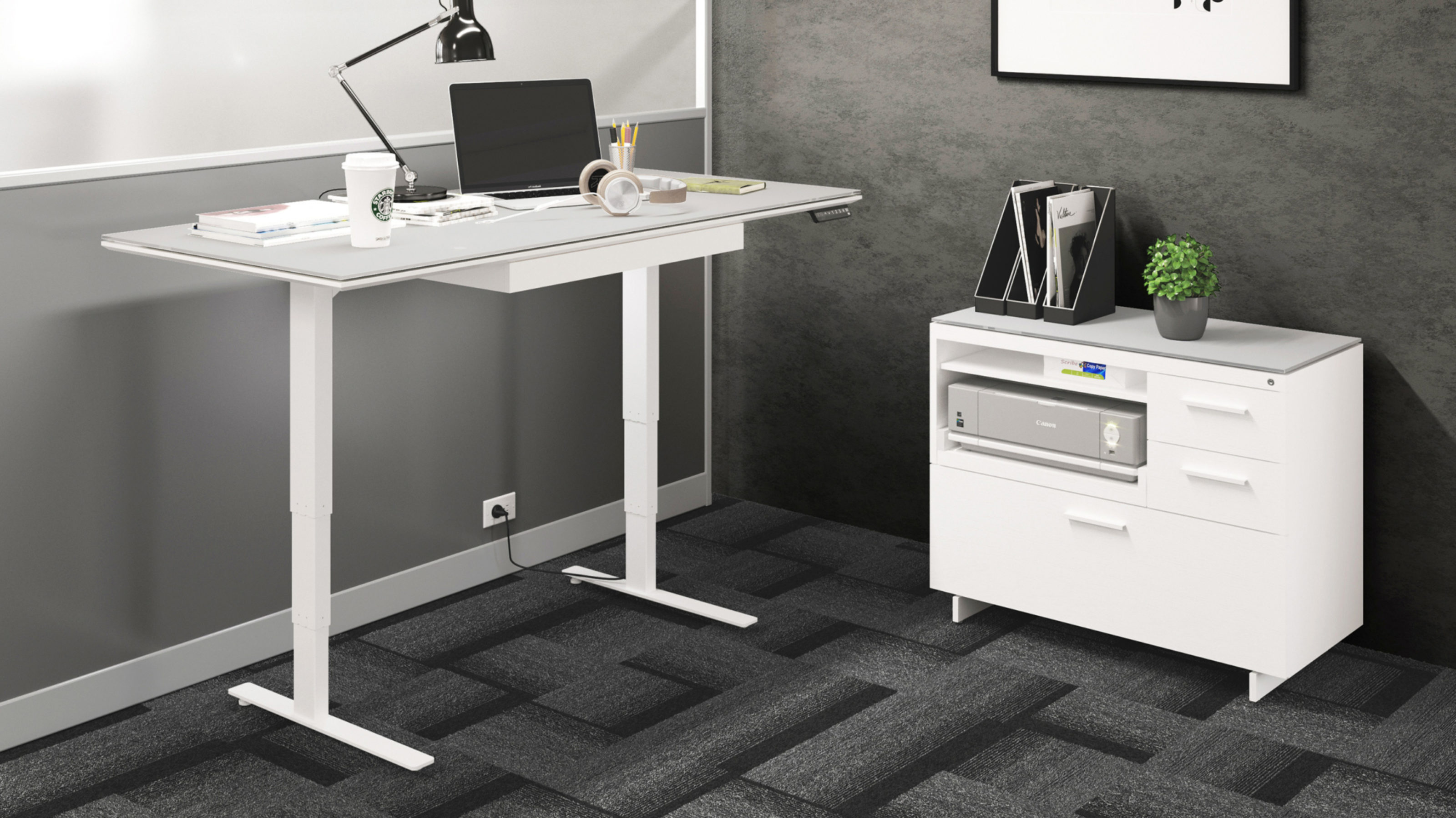 Picture of: Centro 6452 2 Height Adjustable Standing Desk 66 X30 Bdi Furniture