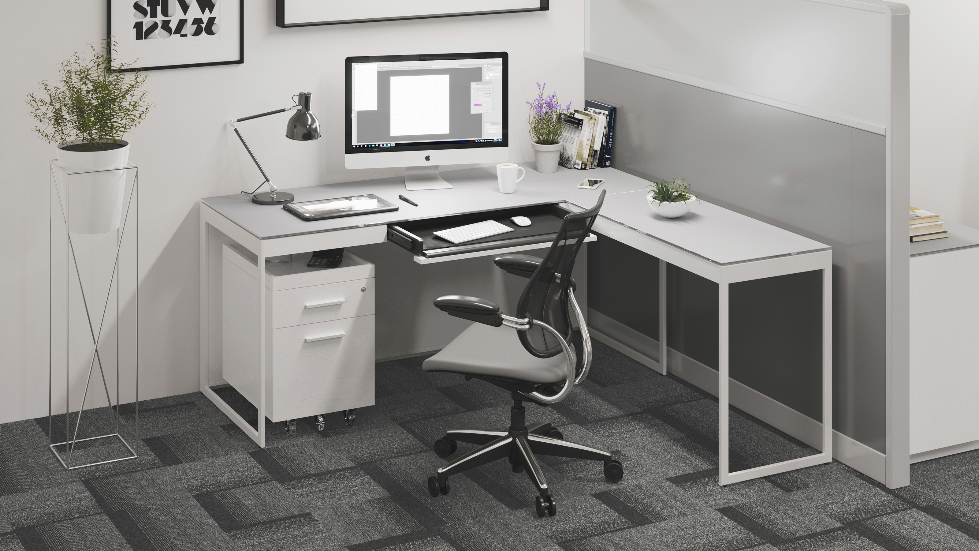 Centro 40 Modern White Home Office Desk  BDI Furniture