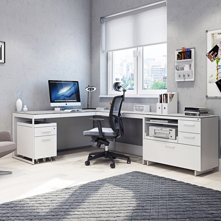 The Centro Office in satin white full home office