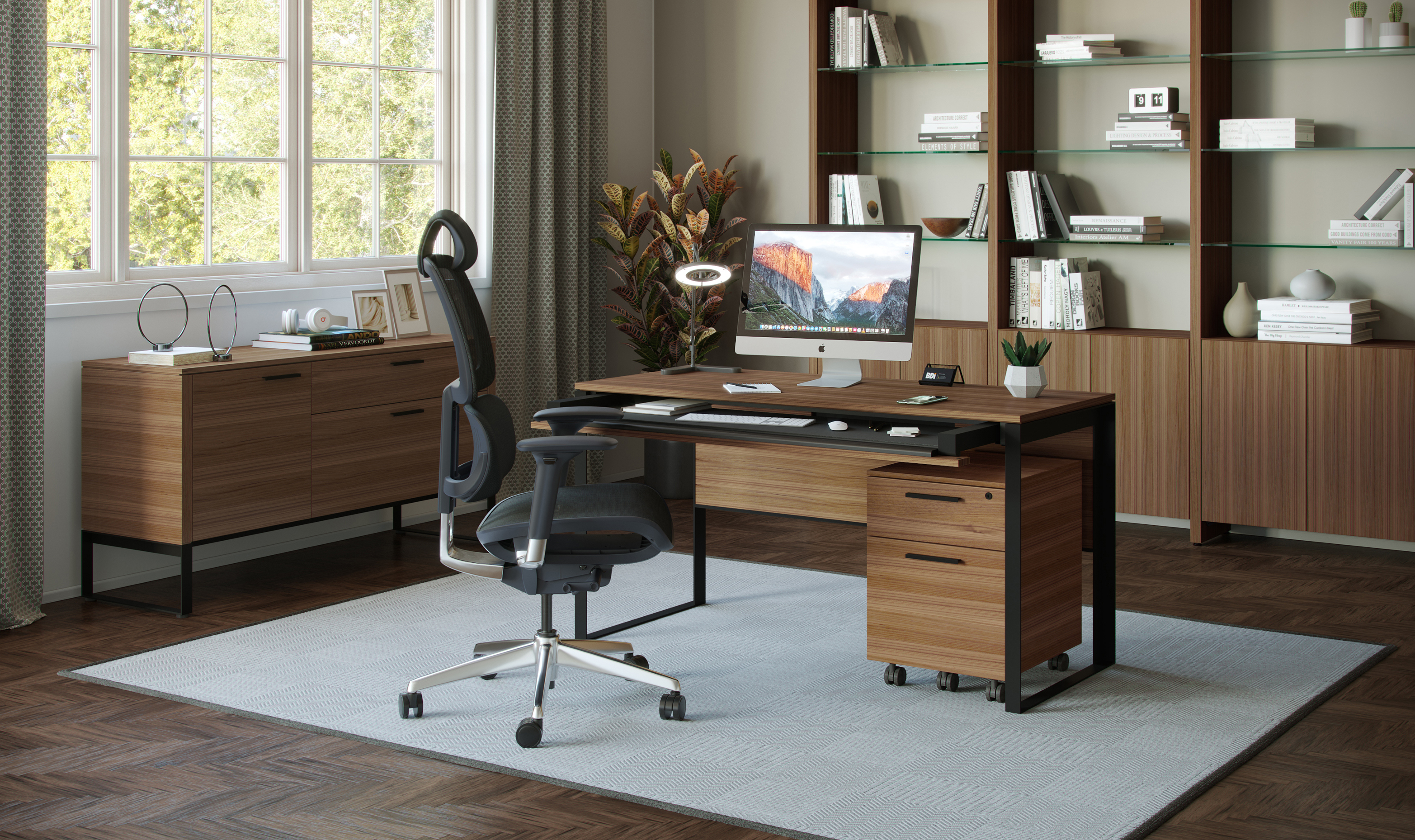 Linea modern home office collection by BDI furniture, shown in Natural Walnut finish.