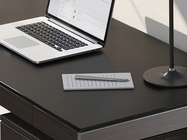Sequel 20 modern home office desks by BDI feature highly durable tempered glass that is unbelievably soft and provides protection from dings and scratches.