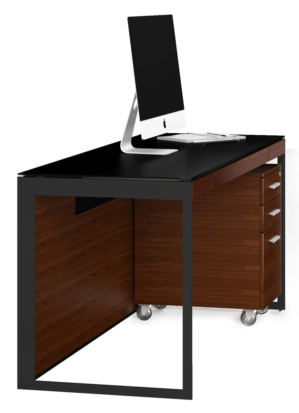 Select from two steel frames for the Sequel 6103 compact desk—Satin Nickel and Black powder coat—and three wood finishes to create the Sequel Office that is perfect for you.
