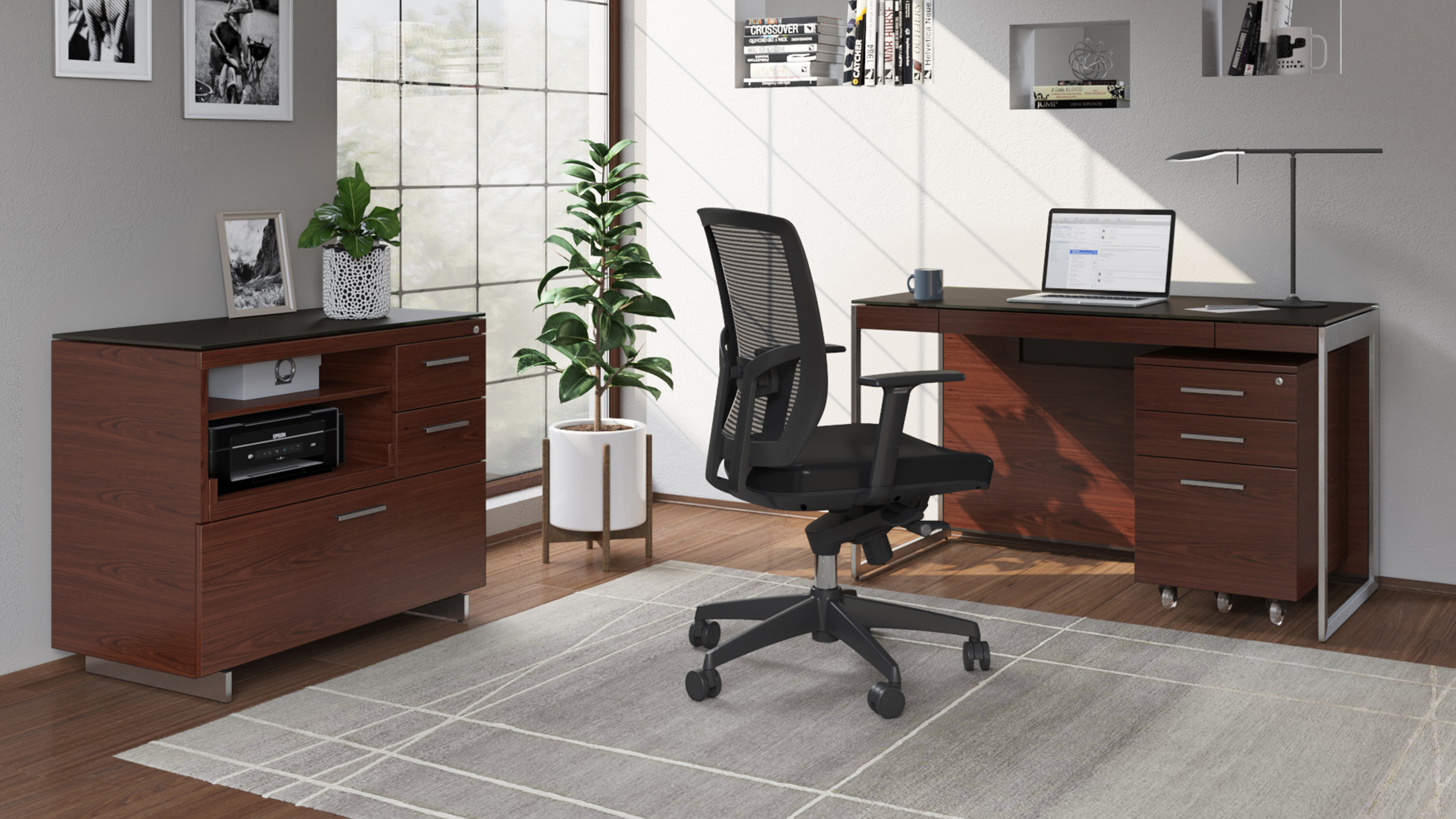 Sequel 6103 small home office desk, shown with complementary file and storage cabinets from the Sequel office collection by BDI furniture.