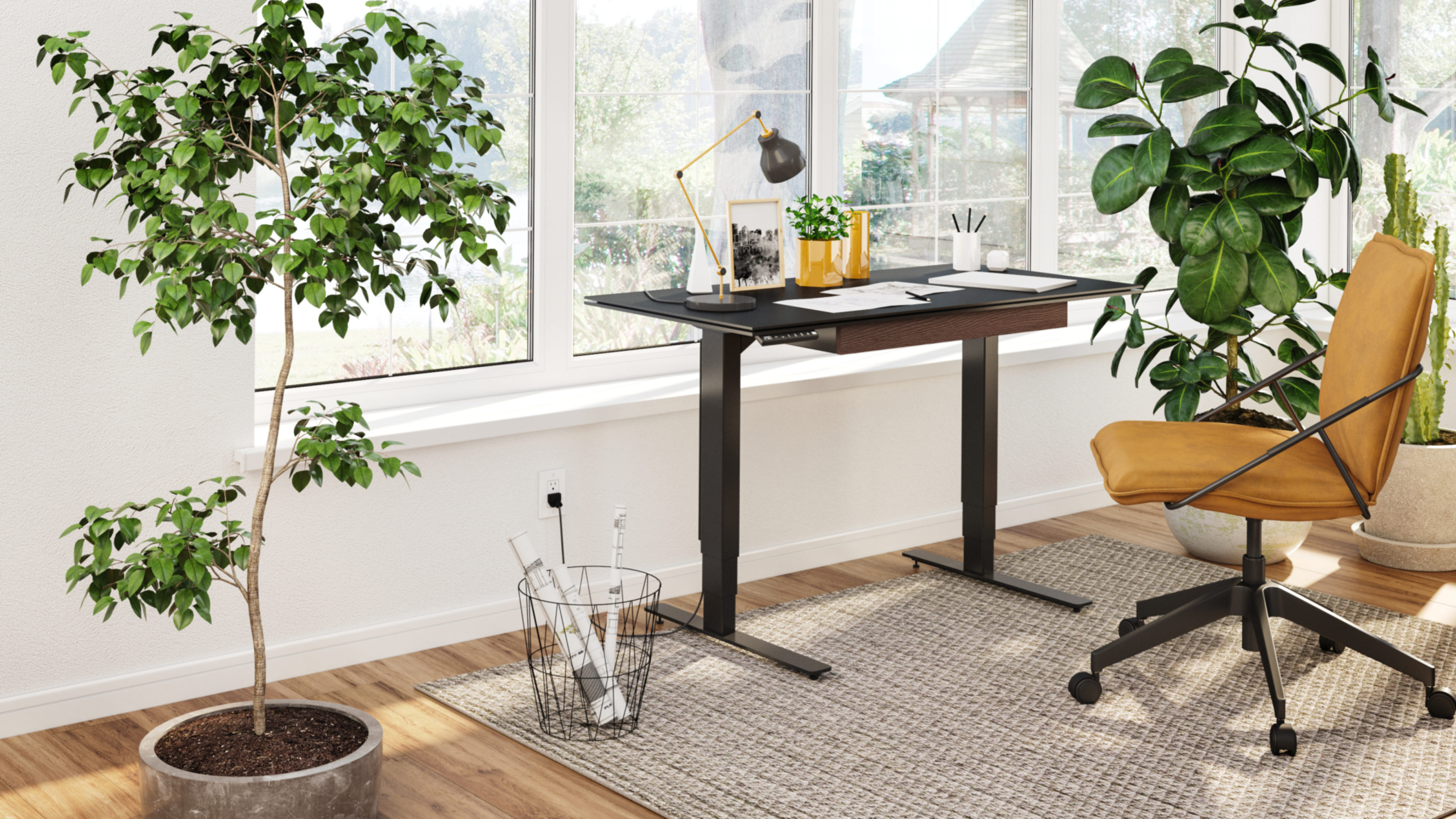 Stance 25 Small Height Adjustable Standing Desk  BDI Furniture