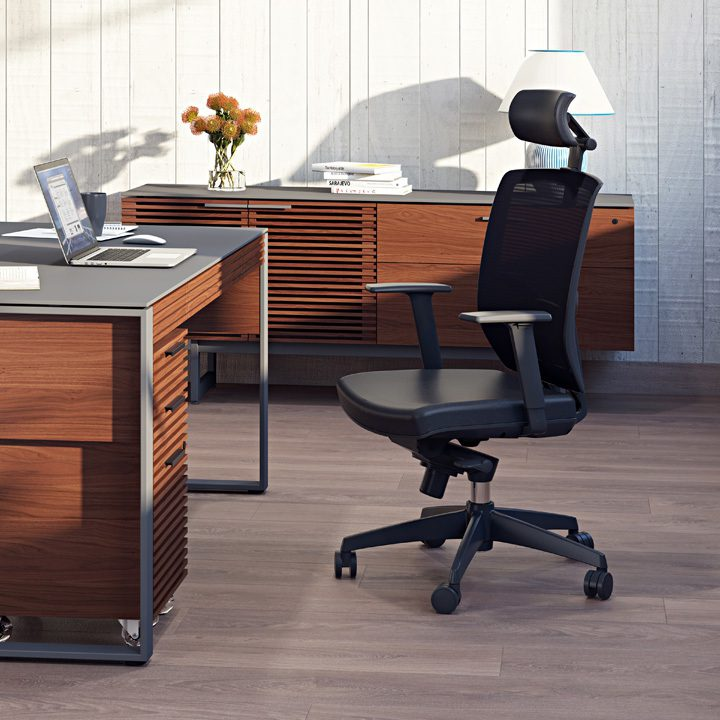 The BDI Task Chair in black leather