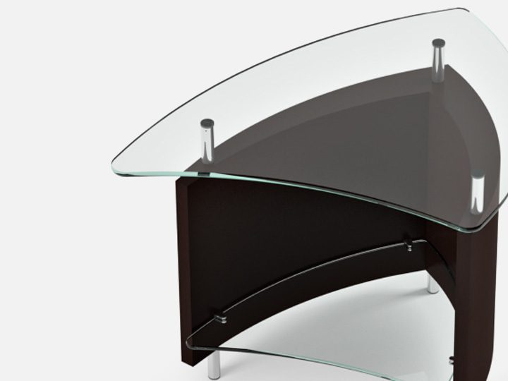 The Fin Table by BDI dynamic modern design with lower storage shelf