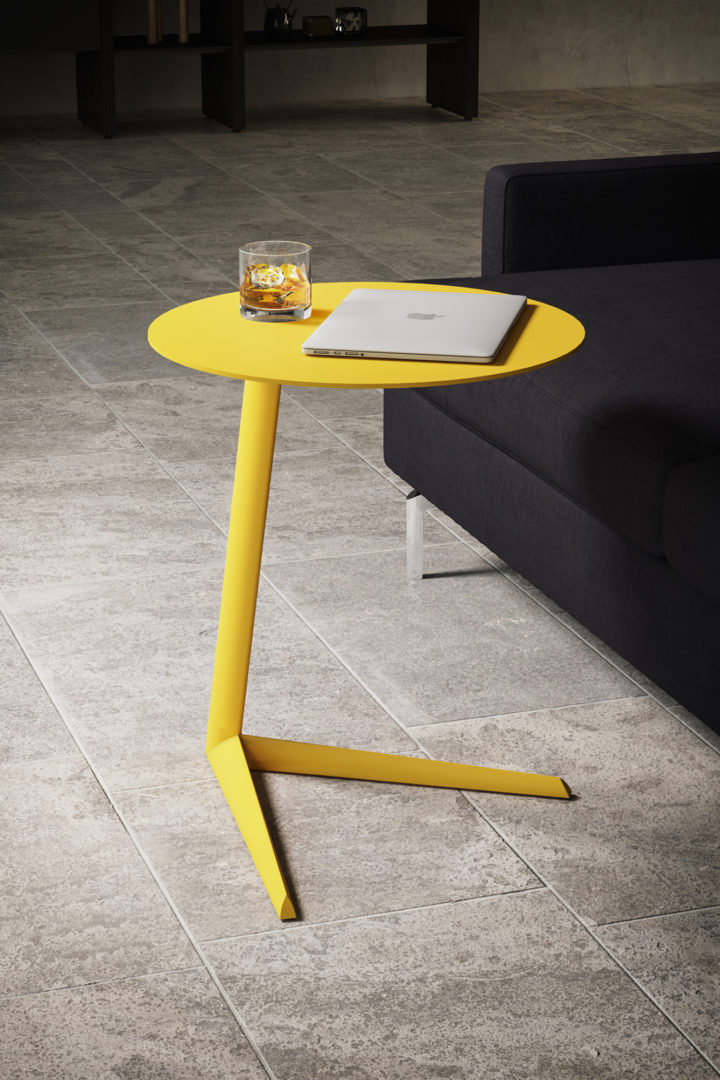 Milo Aluminum laptop stand and c-table by BDI, shown in Lemon yellow finish.