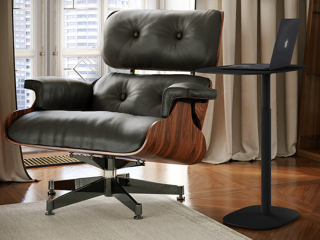 Serif adjustable height laptop desk by BDI Furniture, shown in black finish.