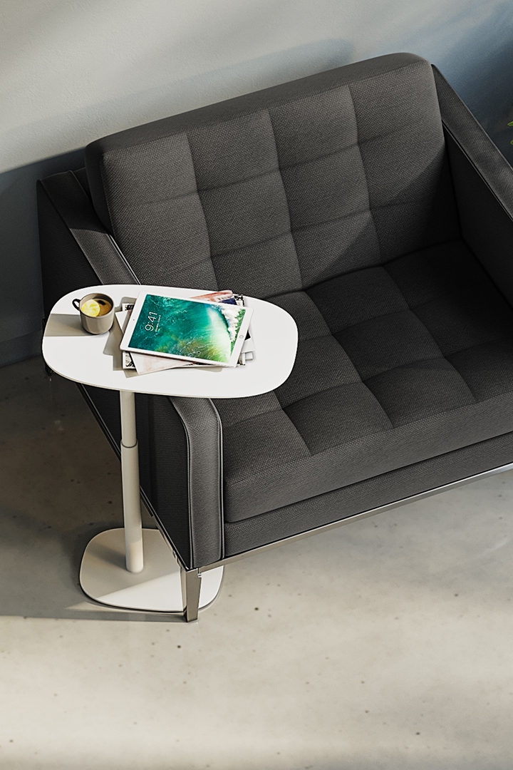 A sturdy steel base on low-friction nylon glides provides perfect balance while being slim enough to easily side under a variety of seating, ensuring that Serif goes where you go.