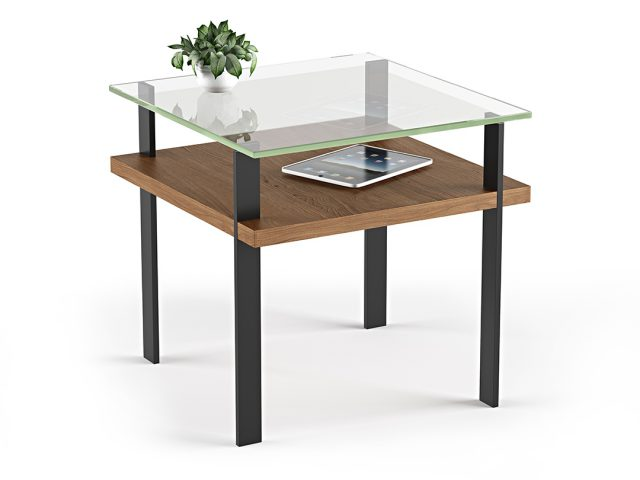 The Terrace End Table by BDI in walnut tempered glass surface with lower wood shelf