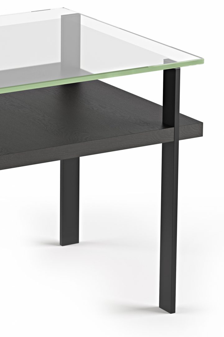 The Terrace End Table by BDI with polished tempered glass and lower shelf