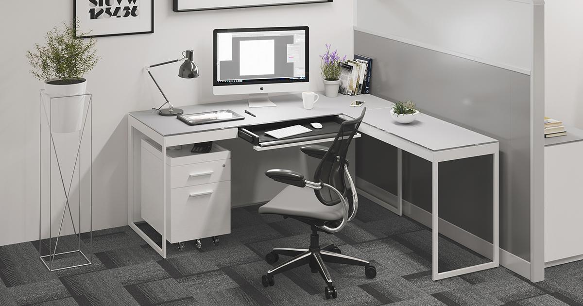 Centro 6401 Modern White Home Office Desk Bdi Furniture