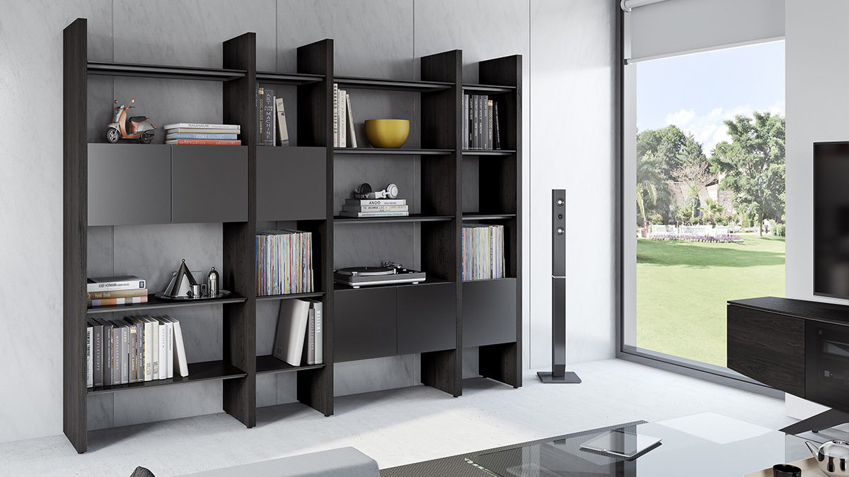 Modular Storage System Charcoal Bookshelf in living Room