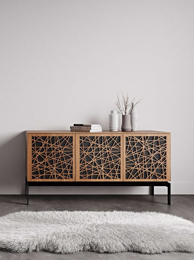 The Elements Storage Console by BDI laser-cut doors with adjustable media storage