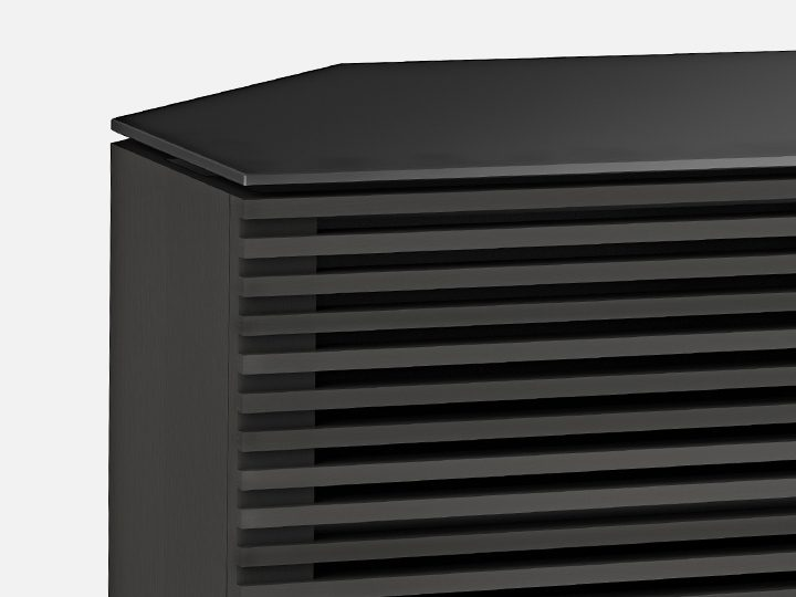 The Corridor Corner Media Cabinet in charcoal with beautiful ventilated louvered doors