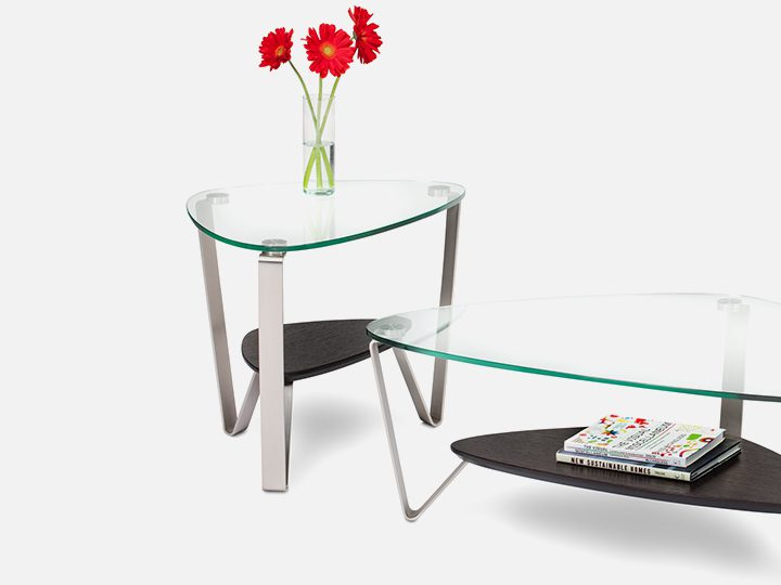 The Dino Table Collection by BDI elegant table with tempered glass top