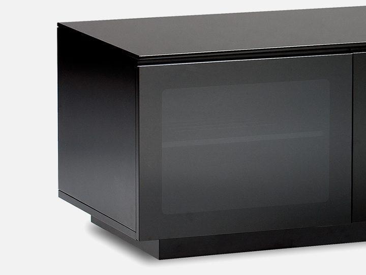 The Mirage Media Cabinet by BDI in black tinted doors conceal media storage